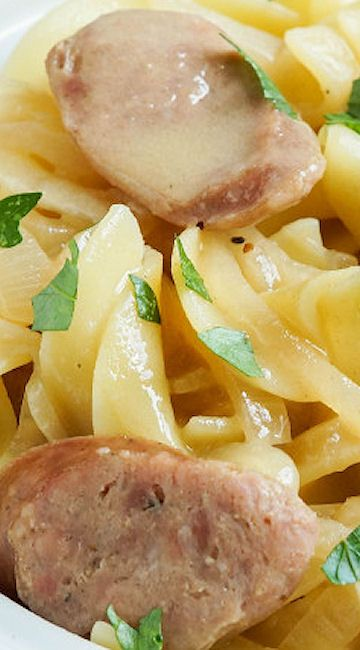 Egg Noodles with Bratwurst and Beer Mustard Sauce