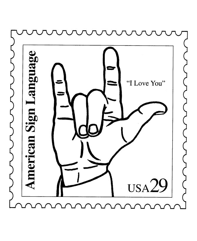 sign language stamp coloring pages