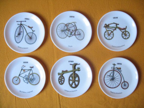 6 Sous-verre en mélamine / Motif vélos anciens / Sous-bock Vintage français / Dessous de verre / Sous-verre plastique / Protège-table