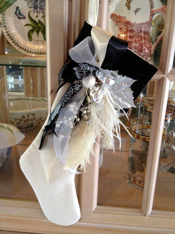 Black Velvet Sparkle Christmas Stocking by prettylittlethings46