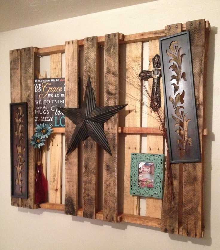 I love my pallet!! Used it for a wall decor up above my bedding.. Fun craft to do with couples also!