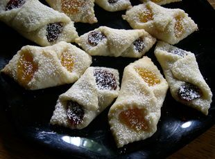 Hungarian Kiffles - just like Mom made!  Use Solo brand Lekvar (prune/plum) and Apricot for the fillings.