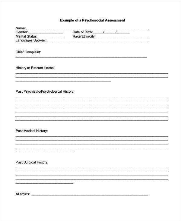 Psychiatric Evaluation Form Template Unique Sample Psychosocial