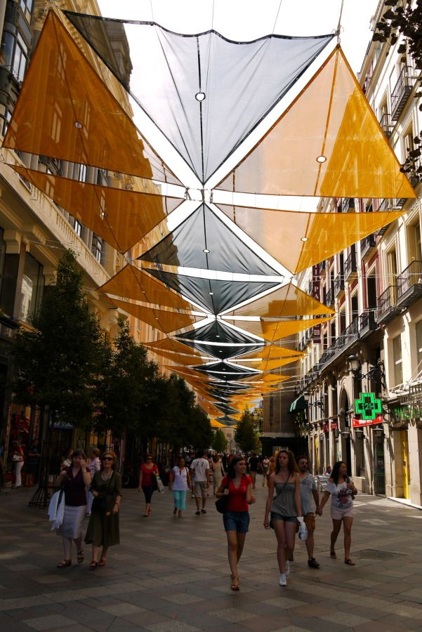 Orange and black canopy over the shopping street Calle del Arenal - Madrid, Spain (7)