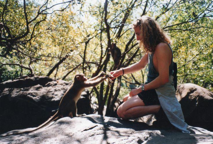 Nick Holmes,1993: feeding a monkey in India :)