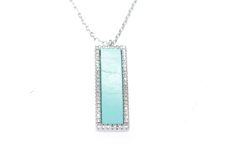 Turquoise Necklace Bar  made of cubic Zirconia  #turquoise #Necklaces #Dainty  #FashionJewelry