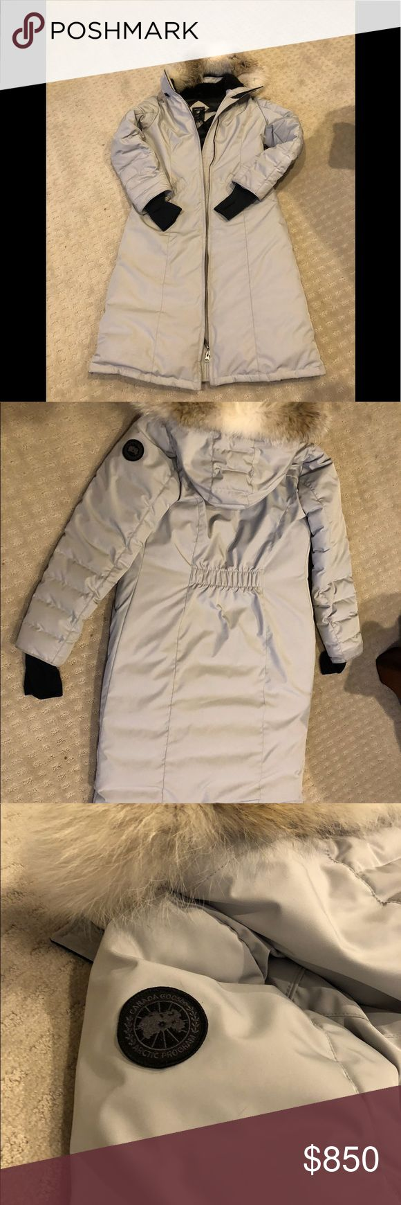 Canada Goose Elrose Parka Black Label silver birch Authentic Canada Goose Elrose Parker black label coat with gorgeous genuine coyote fur trim hood ( removable ) - Gently used in excellent condition - Original tags and receipt. - Silver birch color  - TEI rating 4 ( keeps you warm from 5* -~13*)  yes, I have tested it here in New England!   - Sleeves are made from nylon spandex ( not cotton like their         other coats ) Canada Goose Jackets & Coats Puffers