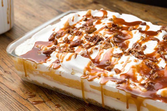 Pumpkin Cheesecake Lasagna - Delish.com