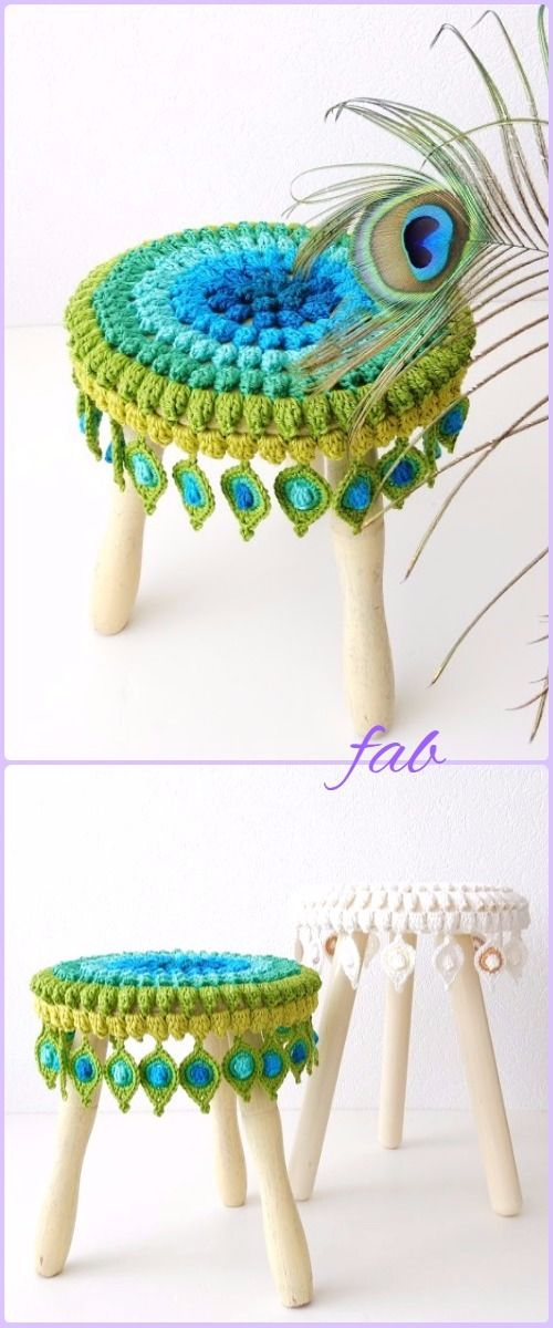 Crochet Peacock Feather Motif Patterns - Crochet Peacock Feather Stool Cover Pattern
