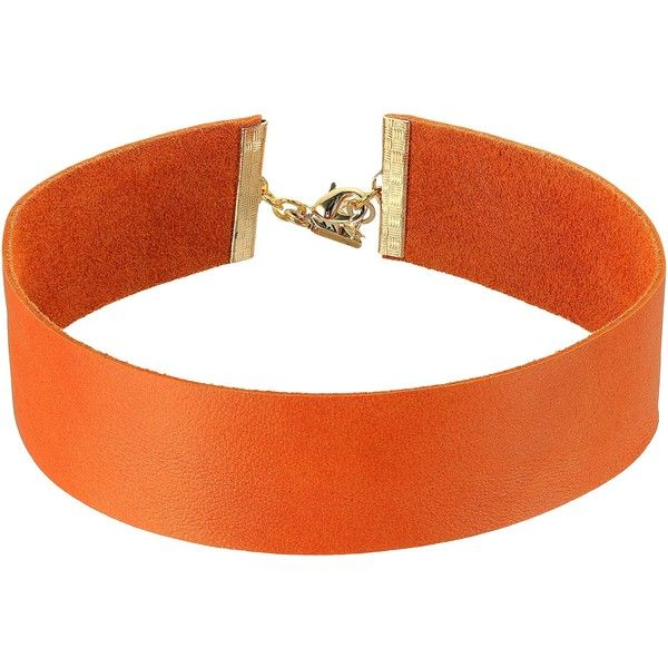 Vanessa Mooney The Violet Choker Necklace (Orange) Necklace (£24) ❤ liked on Polyvore featuring jewelry, necklaces, orange, leather choker, leather necklace, multicolor necklace, pendant necklace and adjustable necklace