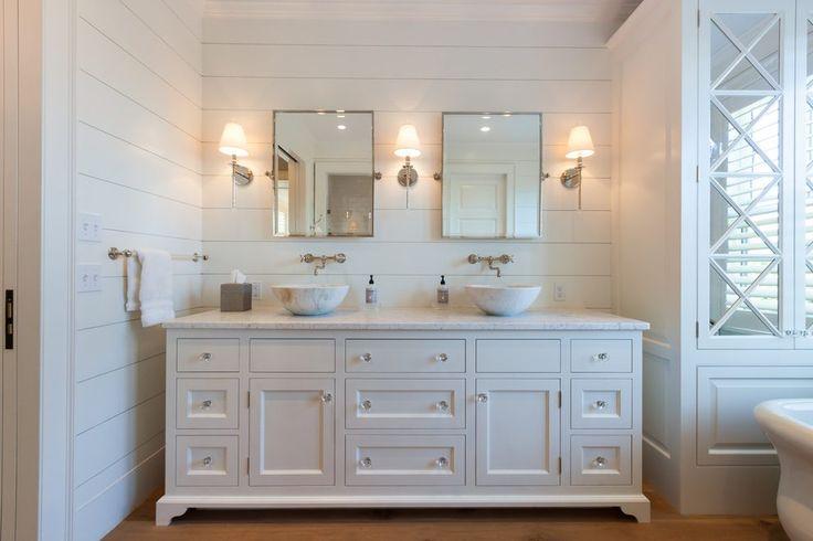Shiplap bathroom bathroom beach style with towel bar white paneling towel bar