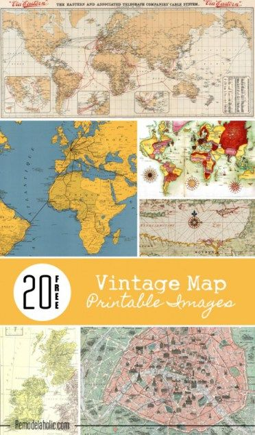 20 Free Vintage Map Printable Images – Scrap Booking