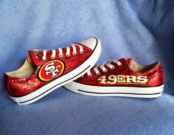 Custom hand painted San Francisco 49ers converse shoes. Embellished with Red Glitter