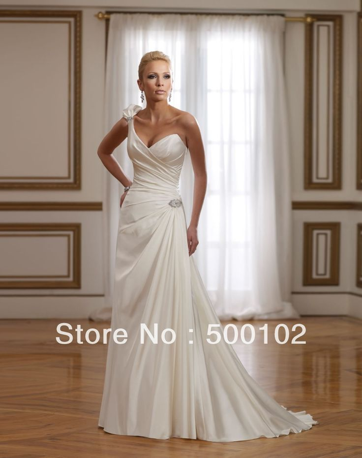 Гламурная Line Одно Плечо Милая Бисером Цветочные Ремень Свадебные Платья