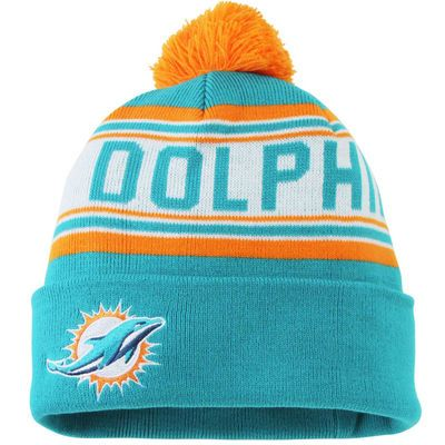 Miami Dolphins Youth Cuffed Knit Hat with Pom – Aqua