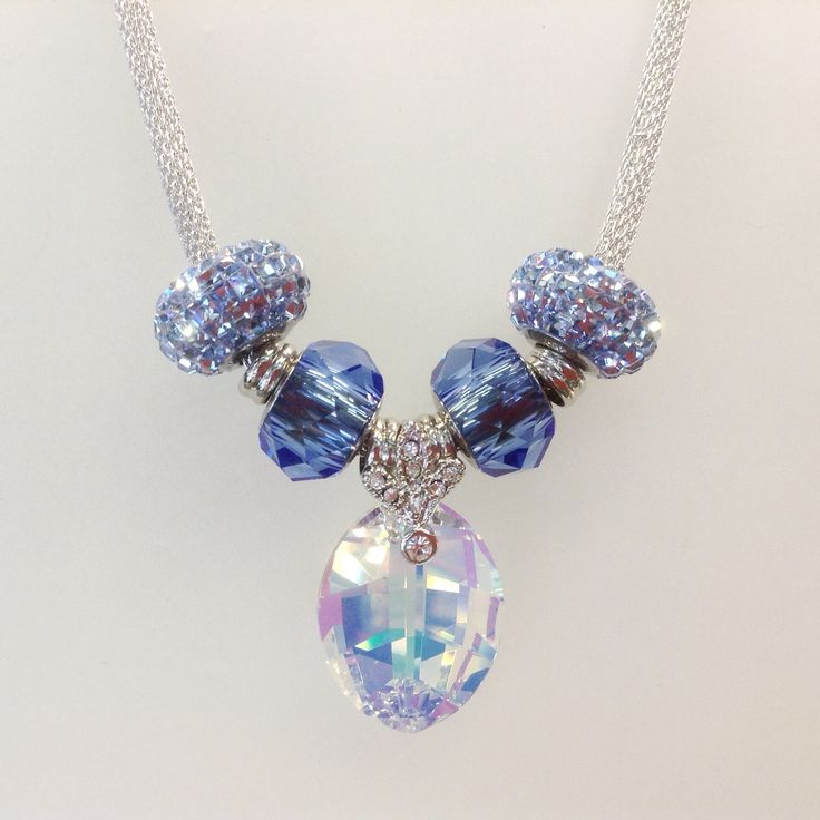 Lovely bleu necklace with Becharmed beads and Swarovski crystal pendant