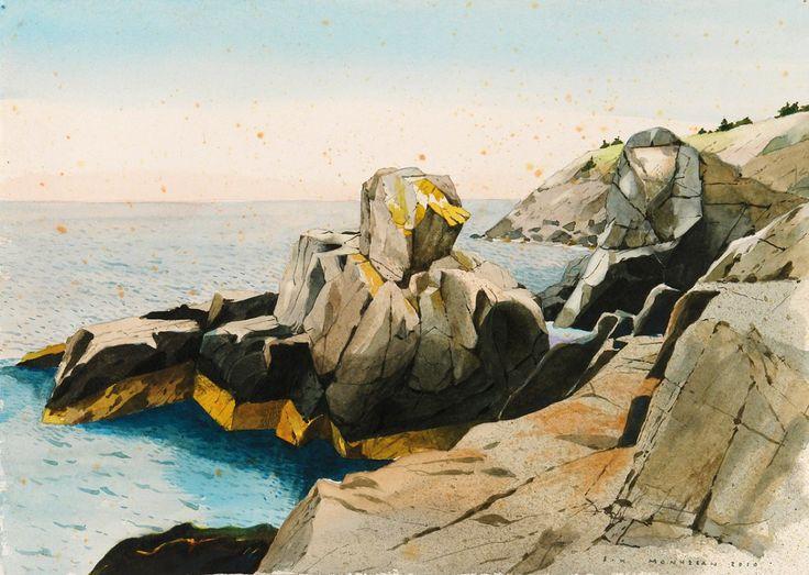 """Scott Kelley, Pulpit Rock, Monhegan, Watercolor and gouache on paper, 10"""" x 14"""""""
