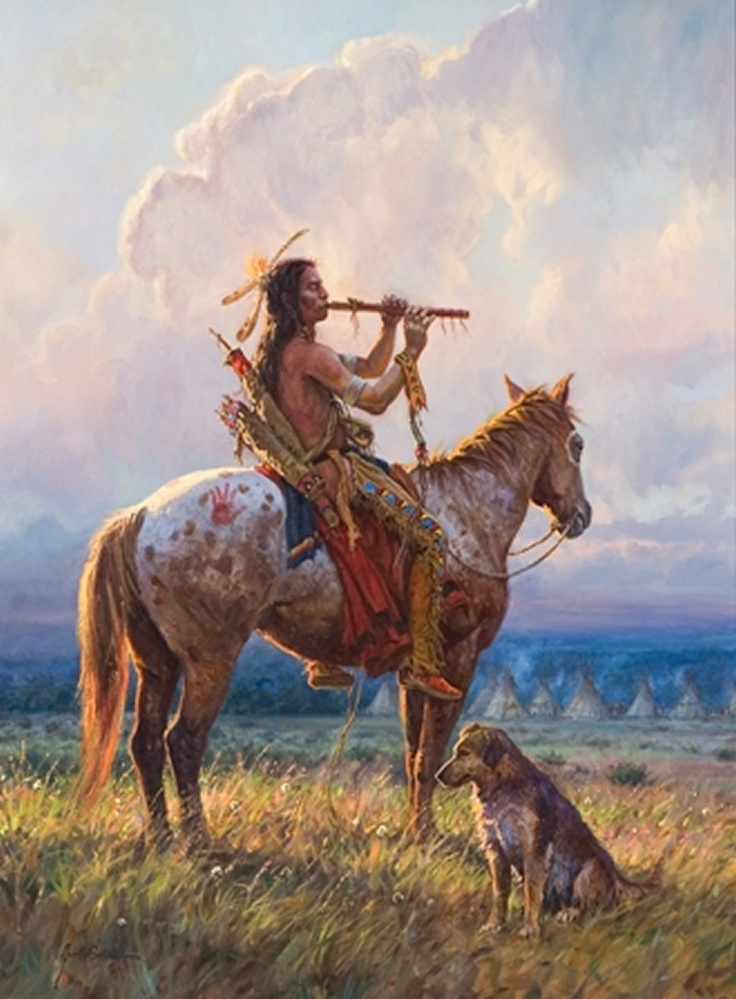 the soft wind of the prairie. He and his horse form a unity, his flute expresses his feeling. Your dog wait ...