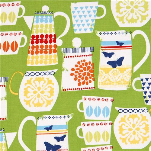 green Michael Miller fabric cups and pots