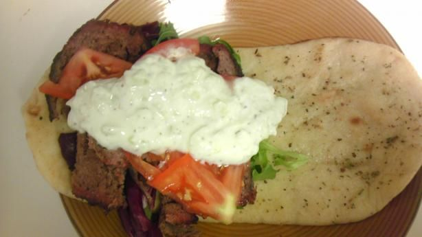 Ground beef gyros--these rock. I pretty much followed the recipe except I mixed curry in with the beef patties and it really made it taste like a gyro instead of a hamburger