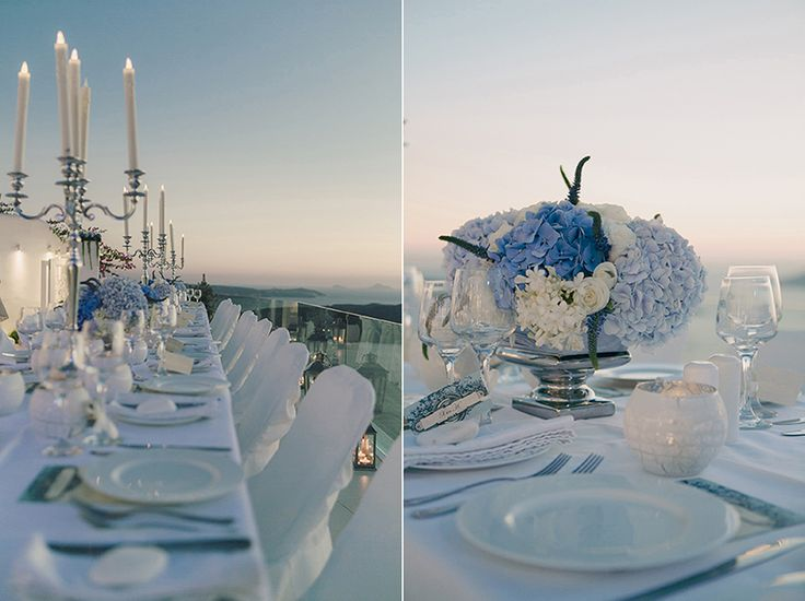 Blue and White Themed wedding in Santorini Island greece