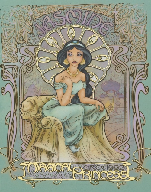 Princess Jasmine was my favorite; beautiful today with the art nouveau context