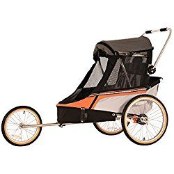 Wike Softie Double 3 in 1 Bicycle Trailer + Strolling + Jogging W/ Suspension - Orange/Gray