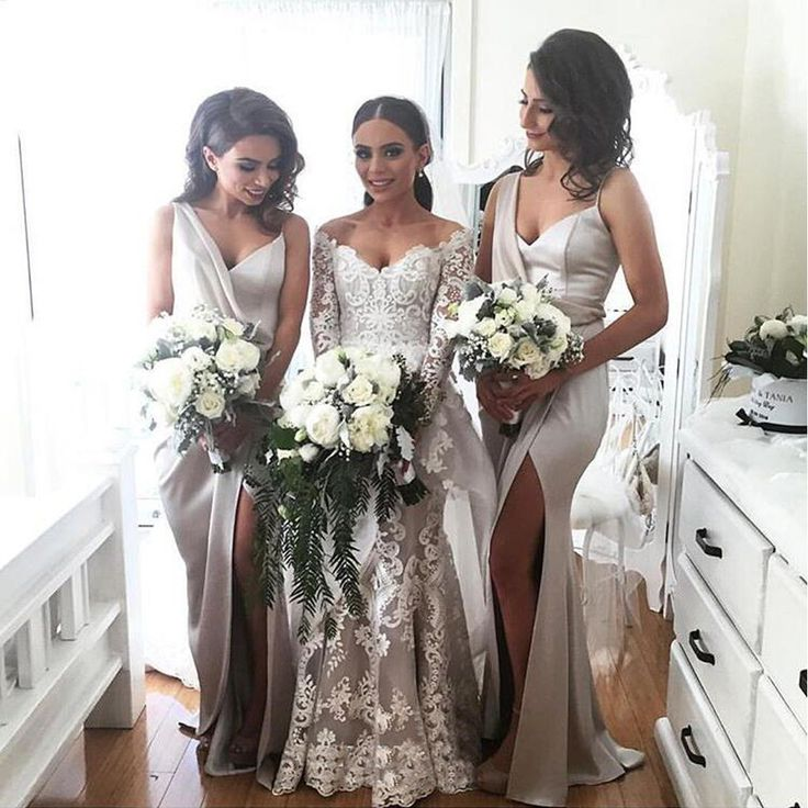 Elegant Sexy Unique Side Slit New Arrival Cheap Long Wedding Bridesmaid Dresses, WG319 The dress is fully lined, 4 bones in the bodice, chest pad in the bust, lace up back or zipper back are all avail