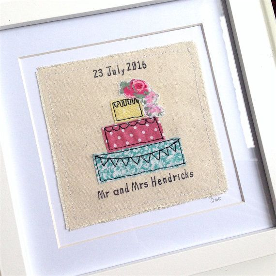 Personalised wedding cake framed wall art picture gift, machine embroidered stitched fabric applique
