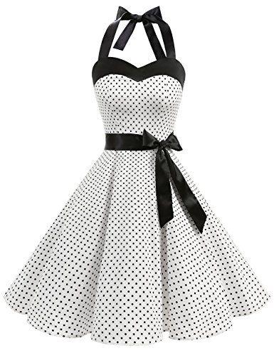 d749b4059 Amazon.com: DRESSTELLS Vintage 1950s Rockabilly Polka Dots Audrey Dress  Retro Cocktail Dress: Clothing