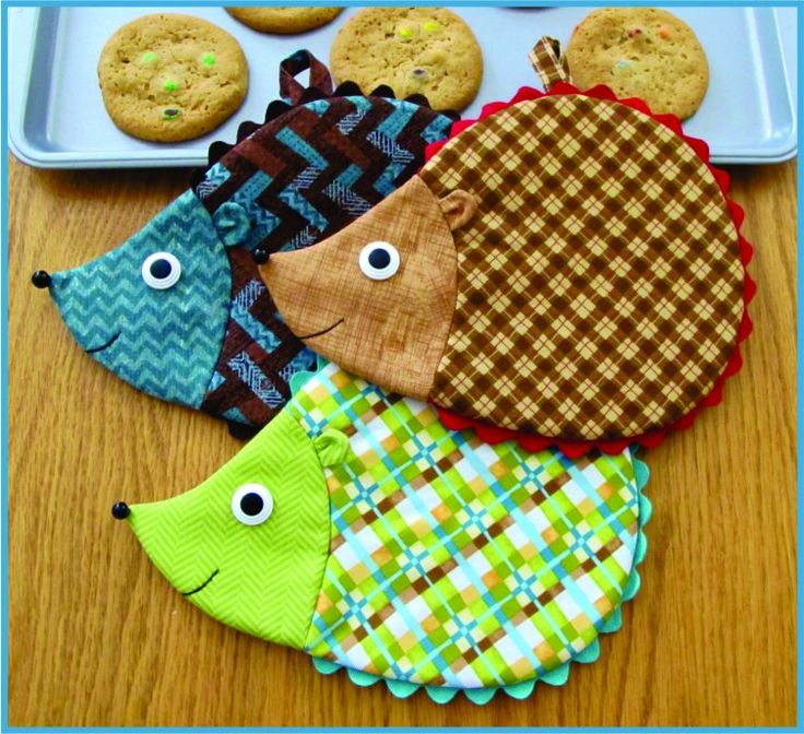 """Pattern pieces and instructions to sew up some sweet Hedgehog Pot Holders or Mug Mats! Sew easy, so quick, fun and functional! Approximate finished size 7"""" x 9""""."""