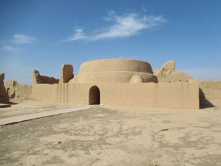 A restored 7th century adobe Preaching Hall of the  Grand Buddhist Temple stands among the ruins of the ancient city of Gaochang southeast of Turpan, Xinjiang, China.