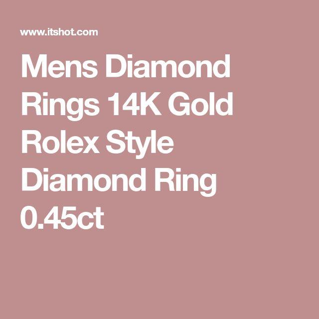 Mens Diamond Rings 14K Gold Rolex Style Diamond Ring 0.45ct