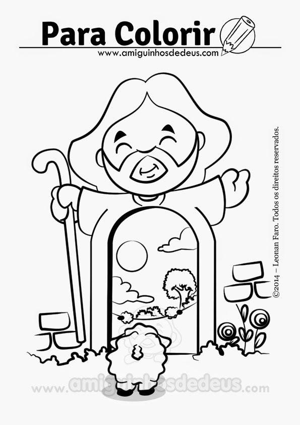 Jesus E A Porta Jesus Bom Pastor Desenho Para Colorir
