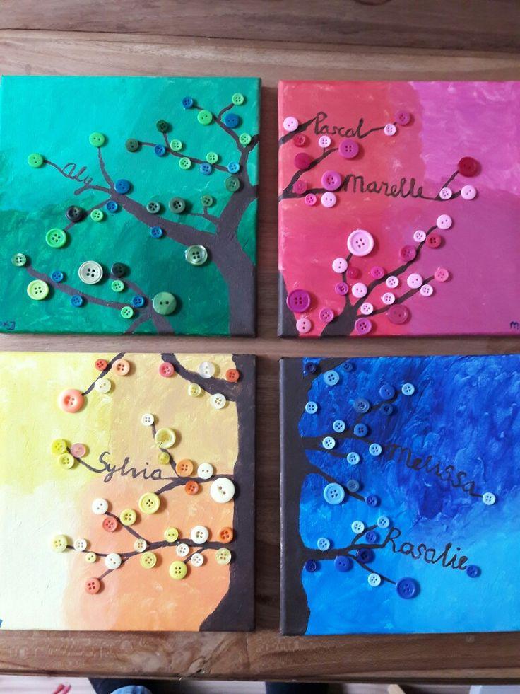 Familieboom: gemaakt van canvasdoeken, verf en knoopjes. Als eerste verf je elk seizoen als ondergrond. Ik heb gekozen voor 4 tinten groen (lente) 4 tinten roze (zomer) 4 tinten geel (herfst) en 4 tinten blauw (winter)