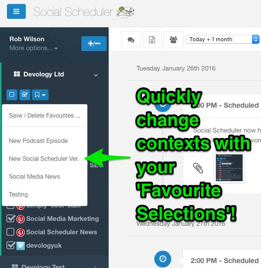 Scheduling your Social Media messages is even quicker w/ 'Favourite Selections' https://devologyltd.wordpress.com/2016/01/26/social-scheduler-quickly-context-switch-with-your-favourite-selections/ #smm #social