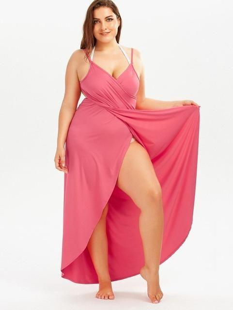 15d6b83ece1 Gamiss 2017 Summer Sexy Plus Size 5XL Beach Wrap Cover Dress Long Split  Backless V Neck Maxi Casual Beach Dress Vestidos