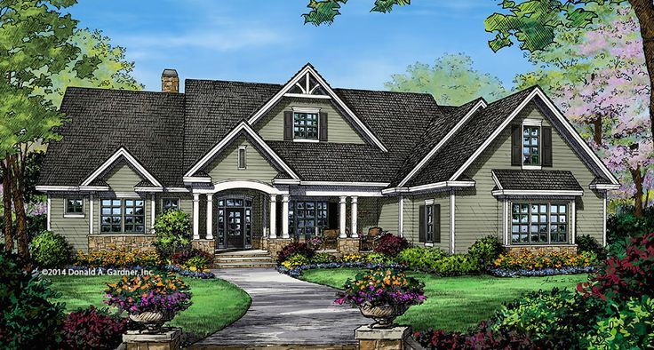 Design In Progress 1350: A #Craftsman interpretation of a popular European-style home design, this ranch is full of special features. 3 car garage, master sitting room, large kitchen, massive #pantry, walk-in closets for every bedroom, #utility with outdo