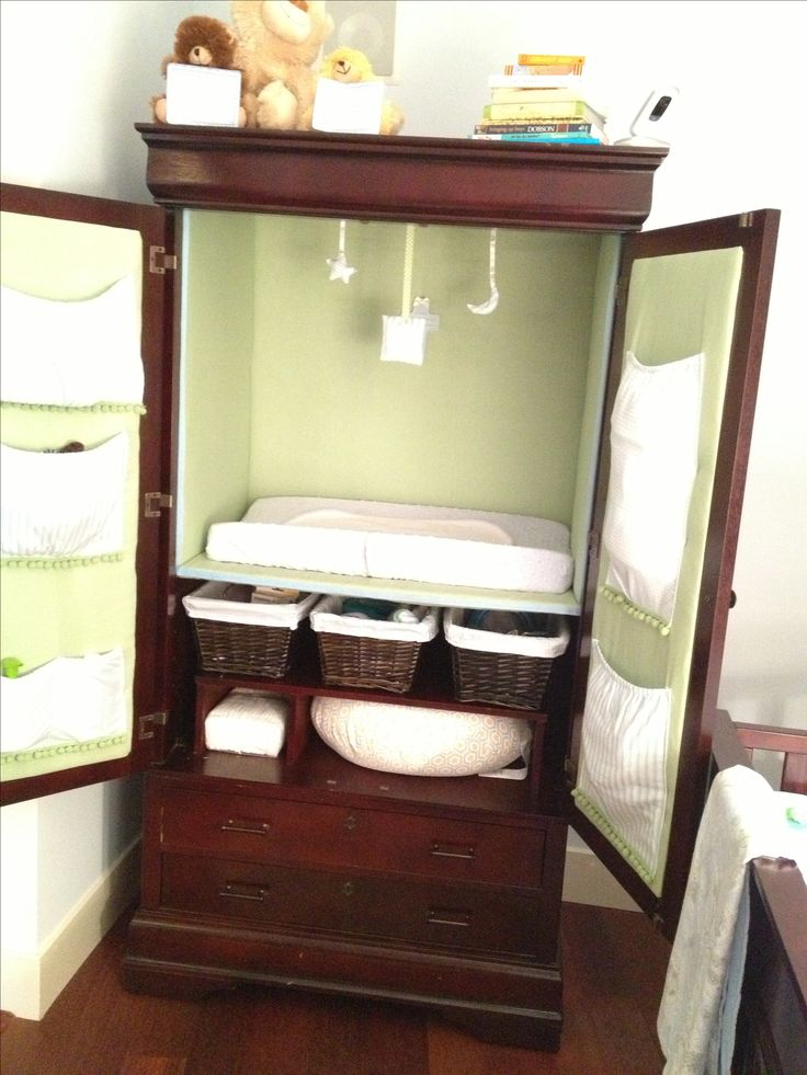 Converted Armoire To Changing Station For Baby Nursery