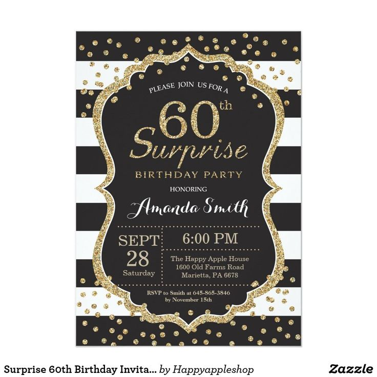 "Surprise 60th Birthday Invitation. Gold Glitter Card Surprise 60th Birthday Invitation for women or man. Black and Gold Birthday Party Invite. Gold Glitter Confetti. Black and White Stripes. Printable Digital. For further customization, please click the ""Customize it"" button and use our design tool to modify this template. #GlitterBirthday"
