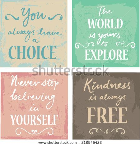 Set Of 4 Typographic Motivational Inspirational Quotes on grunge backgrounds calligraphic elements