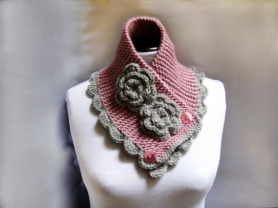 Knitted Scarf Neckwarmer Chunky Cowl  Victorian  pink by lanadearg