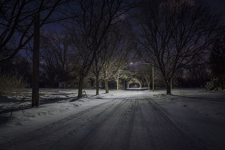 Detroit: Where We Used to Live - photographs by Bill Schwab  path and light draw the viewer to walk into the picture. really captures what it feels like to walk an empty street at night, scared of the darkness, each street light giving hope and safety