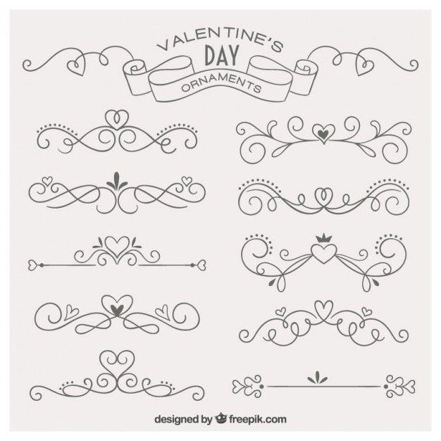 Ornamentos desenhados mão adoráveis para dia dos namorados Vetor grátis