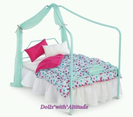 NEW American Girl Truly Me Canopy Bed and Bedding for Doll Pink Blue #AmericanGirl