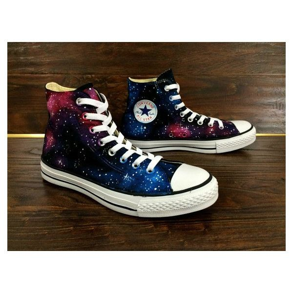 Galaxy Converse Sneakers Custom Painted Galaxy Converse Shoes (2,940 DOP) ❤ liked on Polyvore featuring shoes, sneakers, galaxy print shoes, converse trainers, converse footwear, cosmic shoes and planet shoes