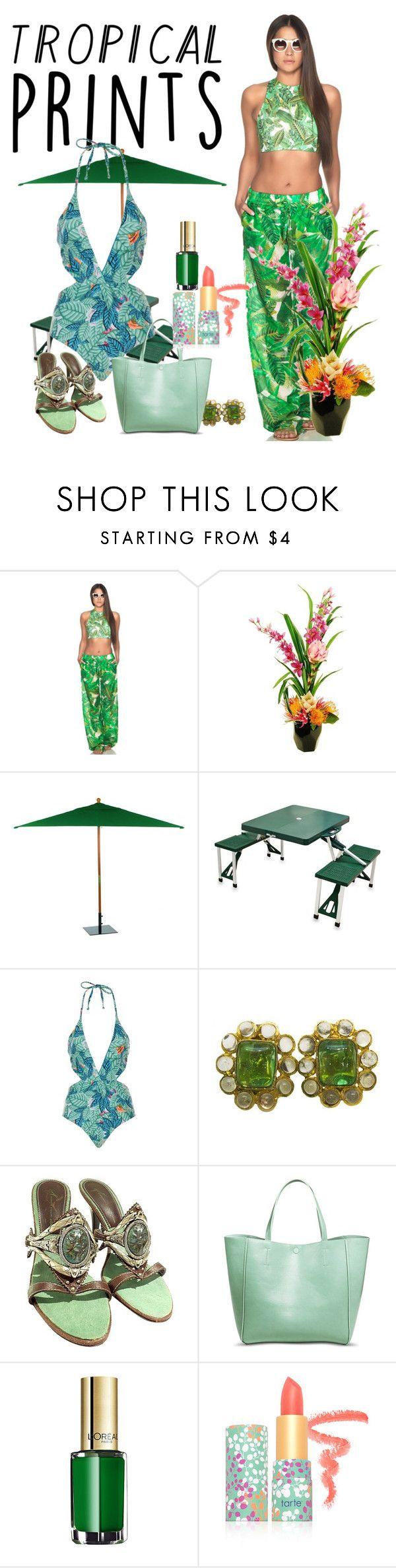 """Tropic"" by ann-kelley14 on Polyvore featuring Estivo, Designs by Lauren, Oxford Garden, Picnic Time, Mara Hoffman, Chanel, Giuseppe Zanotti, Merona, L'Oréal Paris and tarte"