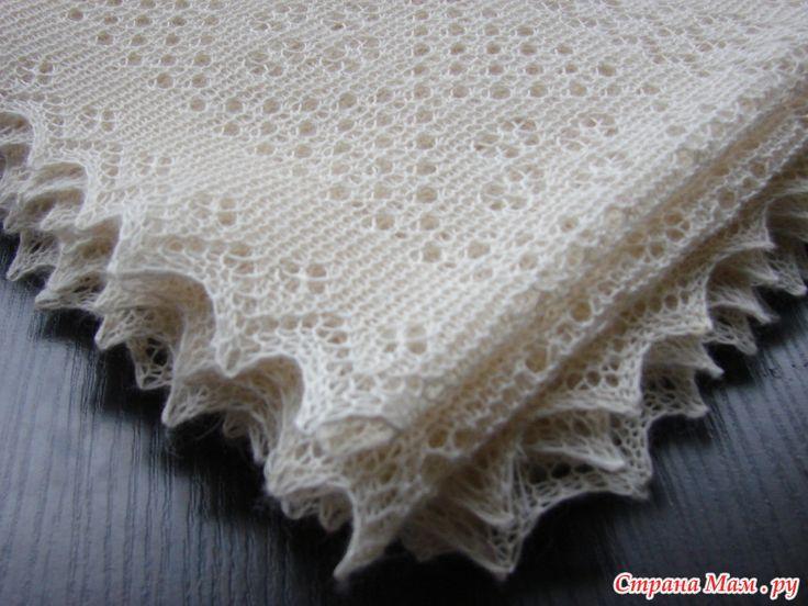 Простой платок из альпаки оренбургским кружевом, описание и схема