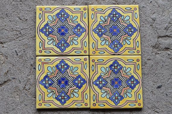 12 Mexican Talavera Tiles Handmade Hand Painted 4 X Mexicano