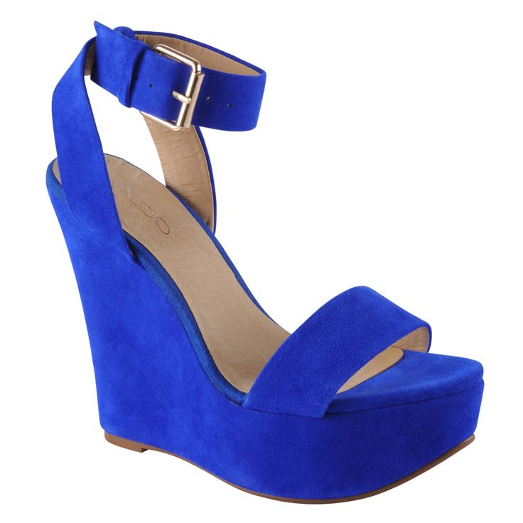 """aldo blue wedge...love this and Ju Lee and the fact that if she wears this, she'll check in at 6'4""""."""